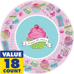 Pastel Birthday Sweets Dinner Plates 18ct