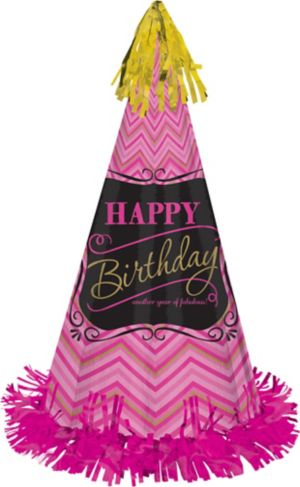 Pink Chevron Birthday Party Hat - Born to Be Fabulous