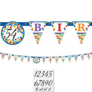 Bright Dot & Chevron Birthday Pennant Banner