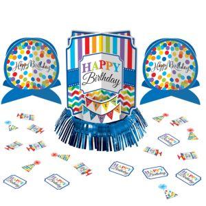 Rainbow Dot & Chevron Birthday Table Decorating Kit 23pc