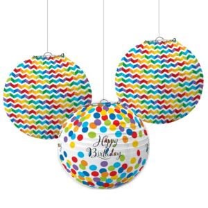 Rainbow Dot & Chevron Birthday Paper Lanterns 3ct