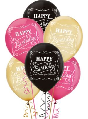Happy Birthday Balloons 15ct - Born to Be Fabulous