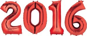 Red 2016 Number Balloons 4pc