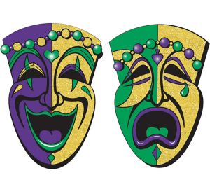 Glitter Comedy & Tragedy Mask Mardi Gras Cutouts 2ct