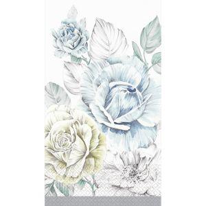 Silver Rose Bouquet Guest Towels 16ct