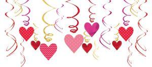 Dot & Chevron Heart Swirl Decorations 12ct