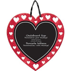 Glitter Heart Chalkboard Sign