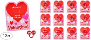 Valentine Exchange Cards with Wiggly Eye Rings 12ct