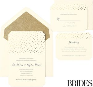 Metallic Gold Dot Scalloped Printable Wedding Invitations Kit 30ct