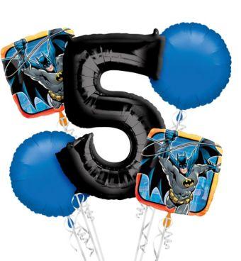 Batman 5th Birthday Balloon Bouquet 5pc