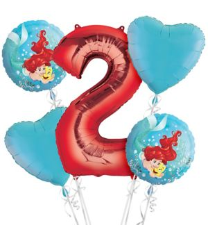 Little Mermaid 2nd Birthday Balloon Bouquet 5pc