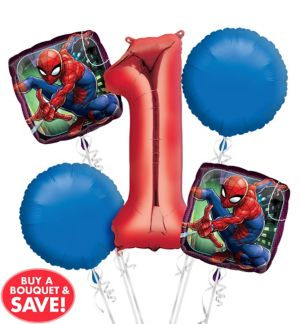 Spider-Man 1st Birthday Balloon Bouquet 5pc