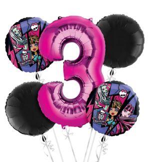 Monster High 3rd Birthday Balloon Bouquet 5pc