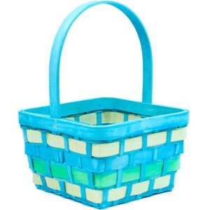 Medium Blue Wood Easter Basket
