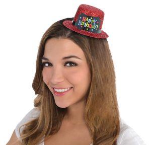 Red Glitter Happy Birthday Mini Top Hat