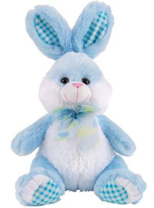 Polka Dot Bow Blue Easter Bunny Plush
