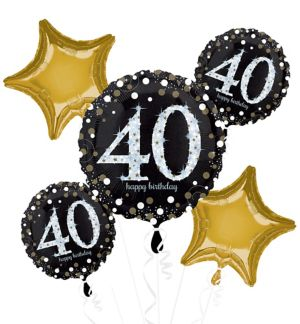 40th Birthday Balloon Bouquet 5pc - Sparkling Celebration