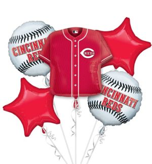 Cincinnati Reds Balloon Bouquet 5pc - Jersey