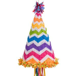 Pull String Bright Rainbow Chevron Party Hat Pinata