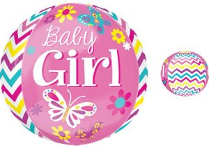 Baby Shower Balloon - Orbz Chevron Beautiful Baby Girl