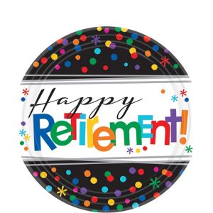 Happy Retirement Celebration Dessert Plates 8ct