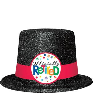 Glitter Happy Retirement Celebration Top Hat