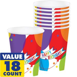 Balloon Bash Birthday Cups 18ct