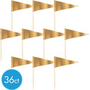 Gold Cupcake Picks 36ct