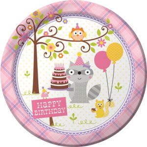 Girl Birthday Lunch Plates 8ct - Happi Woodland