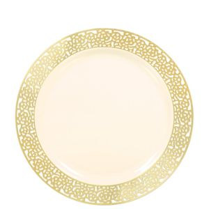 Cream Gold Lace Border Premium Plastic Lunch Plates 20ct
