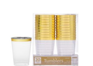 CLEAR Gold-Trimmed Premium Plastic Cups 16ct