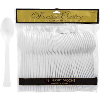 White Premium Plastic Spoons 48ct