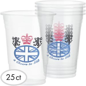 Great Britain Plastic Cups 25ct