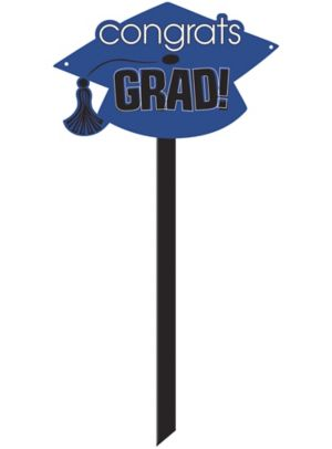 Blue Graduation Yard Sign - Congrats Grad
