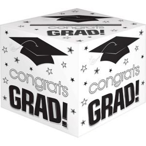White Graduation Card Holder Box - Congrats Grad