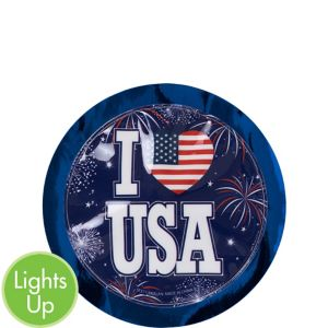 Light-Up I Heart USA Sticker Badge