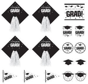 White Graduation Cutouts 16ct - Congrats Grad