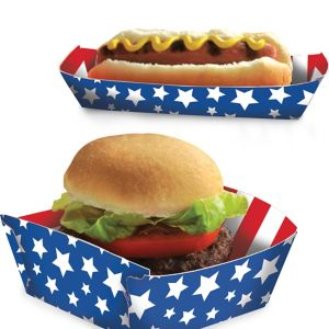 Patriotic American Flag Food Trays 16ct