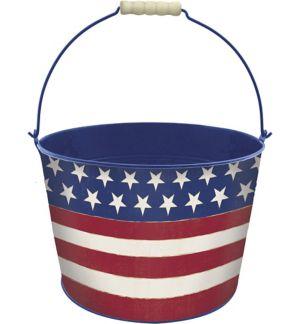Patriotic American Flag Metal Bucket 10in X 7in Rustic
