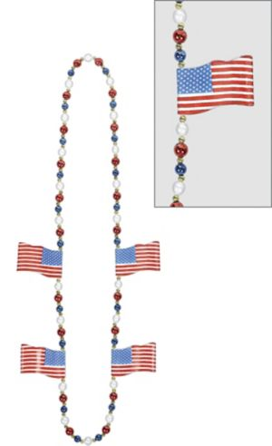 American Flag Bead Necklace