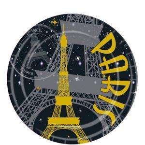 Gold Eiffel Tower Paris Lunch Plates 8ct