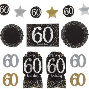60th Birthday Room Decorating Kit 10pc - Sparkling Celebration