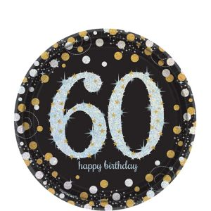 Prismatic 60th Birthday Dessert Plates 8ct - Sparkling Celebration