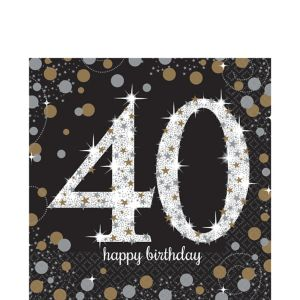 40th Birthday Lunch Napkins 16ct - Sparkling Celebration