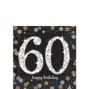 60th Birthday Beverage Napkins 16ct - Sparkling Celebration