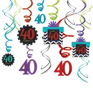 Celebrate 40th Birthday Swirl Decorations 30ct