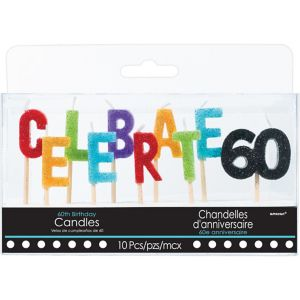 Glitter Celebrate 60 Birthday Toothpick Candles 10ct