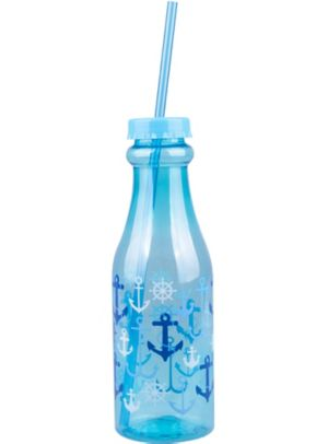Blue Nautical Plastic Soda Bottle