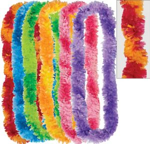 Colorful Two-Tone Fringe Leis 6ct