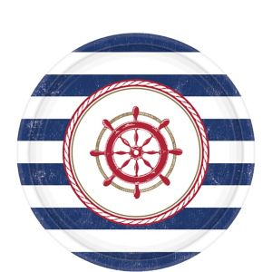 Striped Nautical Dessert Plates 8ct